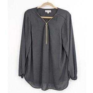 Nanette Lepore Zip Front V-Neck Long Sleeve Blouse